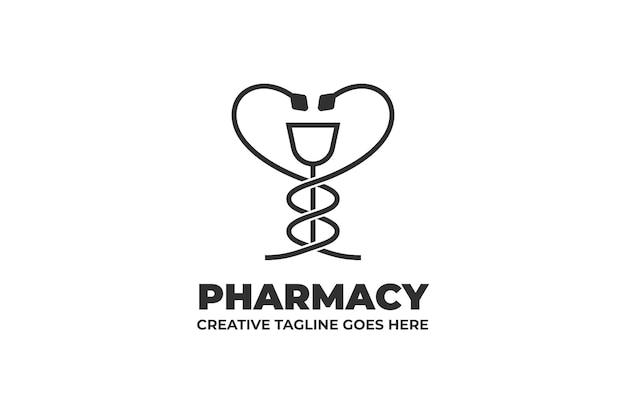 Drugstore pharmacy monoline logo