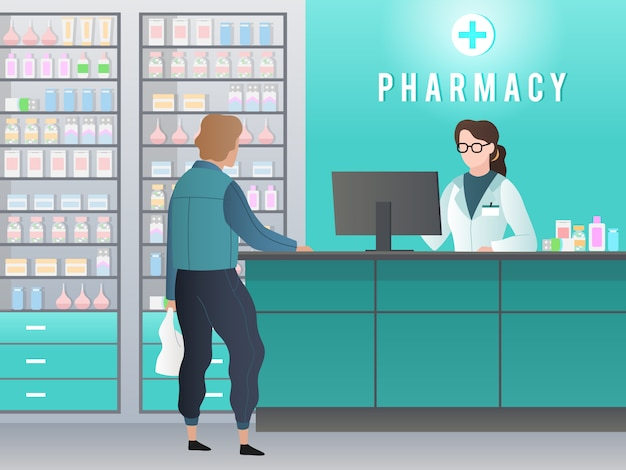 Drugstore. pharmacy with pharmacist, customer with prescription buys medicine in medical shop. pharmaceutical retail vector concept