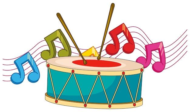 Барабан и музыкальные ноты в фоновом режиме