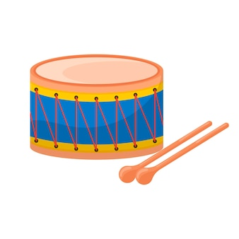 Барабан. детская игрушка. значок, изолированные на белом фоне. для вашего дизайна.