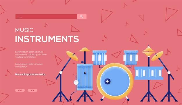Флаер концепции барабана, веб-баннер, заголовок пользовательского интерфейса, введите сайт. .