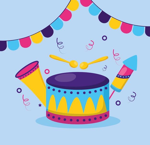 ドラム、花火、カーニバル装飾