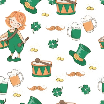 Drum and hat saint patrick's day seamless pattern