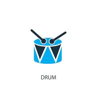 드럼 아이콘입니다. 로고 요소 그림입니다. 2가지 컬러 컬렉션의 드럼 심볼 디자인. 간단한 드럼 개념입니다. 웹 및 모바일에서 사용할 수 있습니다.