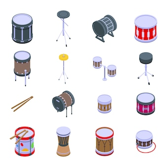 ドラムアイコンを設定します。白い背景で隔離のwebデザインのドラムアイコンの等尺性セット