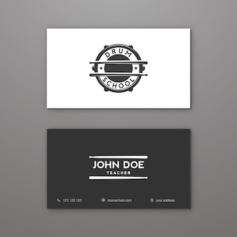Drum school or drum lessons creative business card template. visiting card.