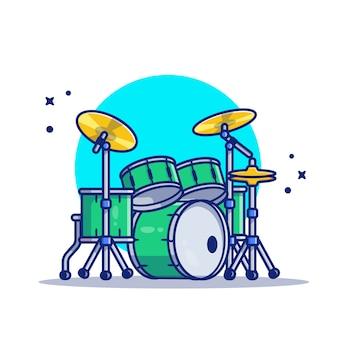 드럼 세트 음악 만화 아이콘 그림입니다. 음악 악기 아이콘 개념 절연 프리미엄입니다. 플랫 만화 스타일