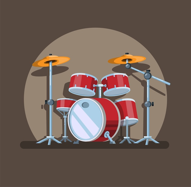 Drum set in spotlight, music instrument symbol concept in cartoon illustration