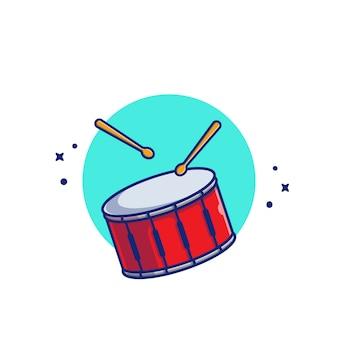 スティック音楽漫画アイコンイラストドラムスネア。音楽楽器アイコンコンセプト分離プレミアム。フラット漫画スタイル