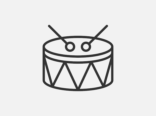 Drum toy icon on white background. line style vector illustration.