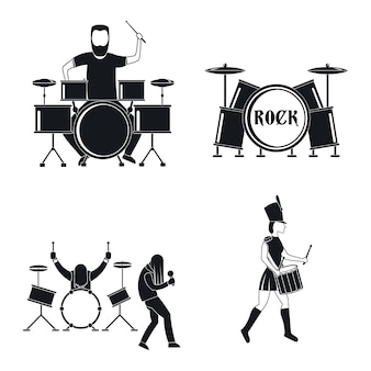 Drummer drum rock musician icons set