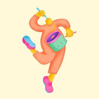 드러머 스티커 벡터 다채로운 음악가 그림