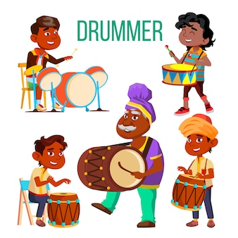 Drummers using ethnic percussion