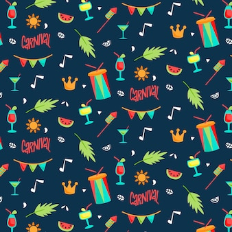 Drums and leaves seamless carnival pattern