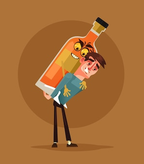 Пьяный персонаж-алкоголик несет бутылку алкоголя. концепция алкоголизма.