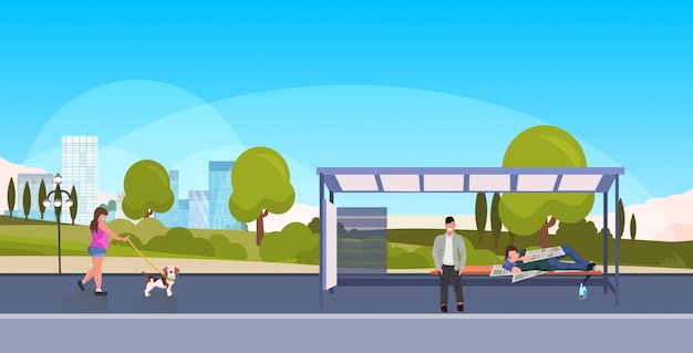 Drunk beggar bum sleeping outdoor city bus station homeless concept man passenger waiting public transport girl walking with dog landscape background horizontal full length