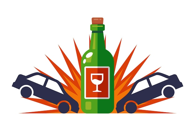 A drunk driver driving an accident on the road. flat vector illustration isolated on white background.