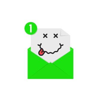 緑の手紙の通知で酔った絵文字。酒、中毒、レクリエーション、リラックス、おいしい、ソーシャルネットワークの笑顔のアバターの概念。白い背景の上のフラットスタイルのトレンドモダンなロゴのグラフィックデザイン
