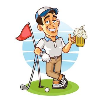 ビールのグラスを持って酔ってゴルファー