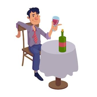 Пьяный человек, сидящий за столом плоской иллюстрации шаржа. алкогольное питье вина в одиночку. готовый к использованию 2-х символьный шаблон для рекламы, анимации, полиграфического дизайна. изолированный комический герой