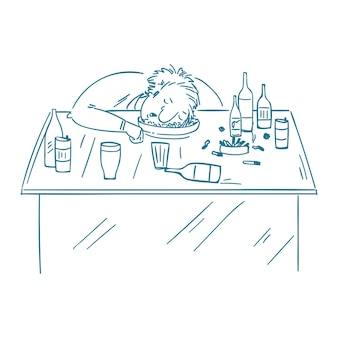 A drunk man sitting fall asleep on the table with a bottle of alcohol.