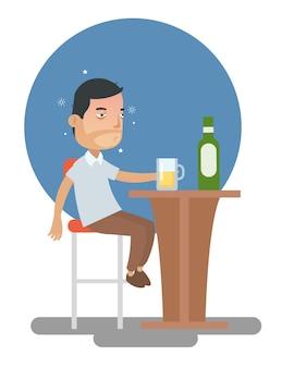 酔っ払った男はバーでドリンクアルコールを飲みすぎた
