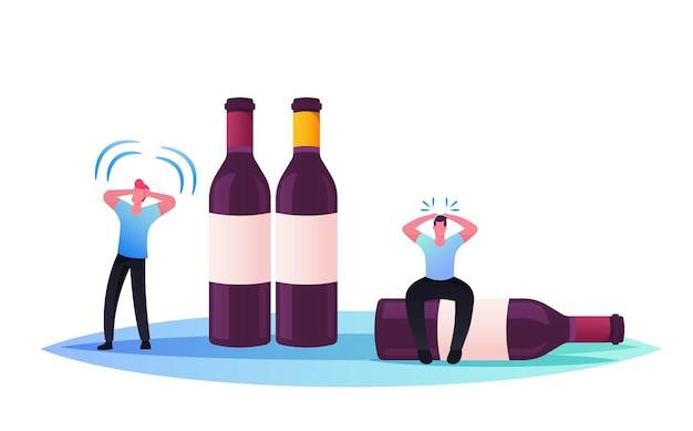 Drunk men hangover syndrome due to alcohol addiction