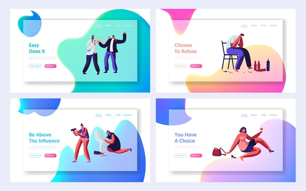 Drunk men and women website landing page set, alcohol addiction people. male and female characters have pernicious habits and substance abuse, web page. cartoon flat vector illustration