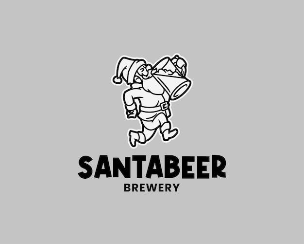 ビールのロゴのテンプレートを楽しむ酔ったサンタクロース