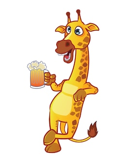 Drunken giraffe holding beer glass cartoon