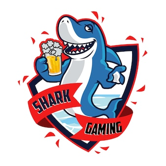 Drunken shark cartoon mascot