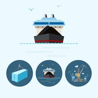 ドライ貨物船。 3つの丸いカラフルなアイコン、乾いた貨物船、クレーンが貨物コンテナ船からコンテナを降ろし、クレーンフックにぶら下がっているコンテナ、ロジスティックアイコン、ベクトルイラストが設定されています