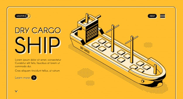 Dry cargo ship web banner with bulk carrier line art illustration. freight maritime