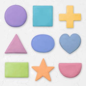 子供のための乾いた粘土の幾何学的な形のベクトルパステルグラフィック