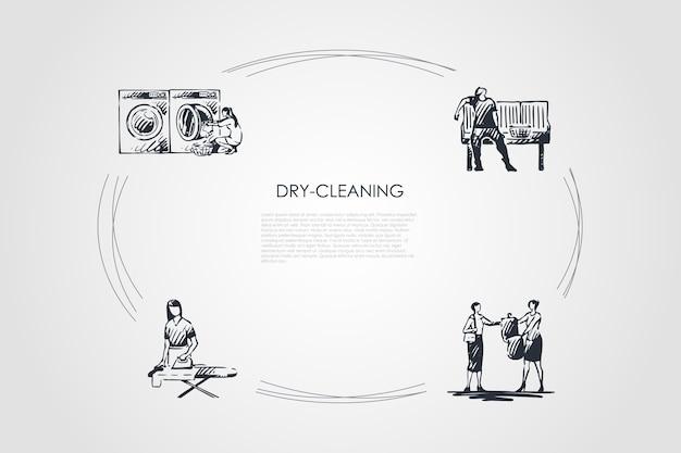 ドライクリーニング手描きのシクル