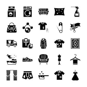 Dry cleaning laundry solid icons
