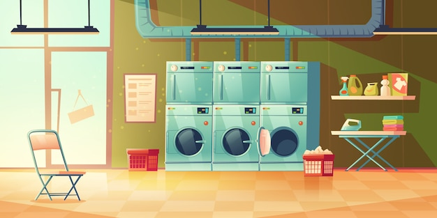 Dry cleaning service, laundry room interior