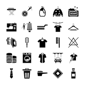 Dry cleaning solid icons pack