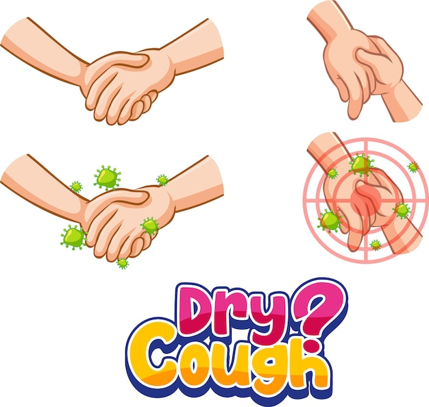 Dry cough font in cartoon style with hands holding together isolated on white background