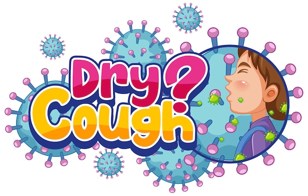 Dry cough font design with coronavirus icons isolated on white background