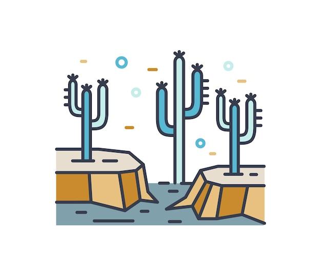 건조한 사막 라인 아트 풍경. 선인장 식물 등고선 기호와 야생 땅입니다. 흰색 배경에 분리된 바위와 선인장이 있는 단순하고 화려한 멕시코 풍경입니다. 벡터 개요 자연 그림입니다.