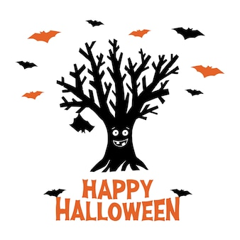 Dry funny tree with hanging bat and flying bats. happy halloween orange lettering. holiday greeting card. isolated on white background.