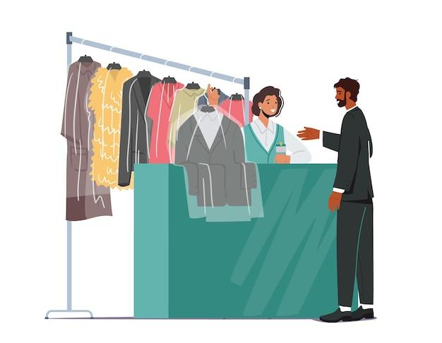 드라이 클리닝 클리닝 서비스. 여성 캐릭터 전문 작업자는 옷걸이로 리셉션에서 클라이언트에게 깨끗한 옷을 제공합니다.