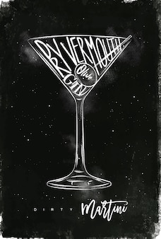 Dry martini cocktail with lettering on chalkboard style