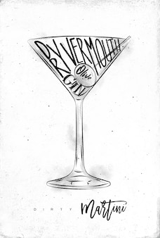 Dry martini cocktail with lettering