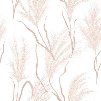 Сухие пампасы трава бесшовные векторные шаблон. акварель цветочные осенний фон. иллюстрация текстуры падения бохо с растением из высушенного золота для фона, тканевой печатью, ретро-текстилем, обоями