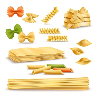 Dry pasta assortment realistic icons set