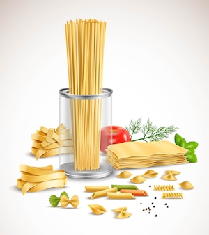 Dry pasta assortment with basil leaves tomato dill and black pepper ingredients realistic compositio