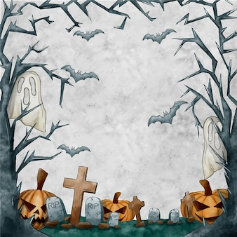 Dry tree branches halloween frame copy space