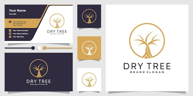Dry tree logo abstract and business card design template premium vector